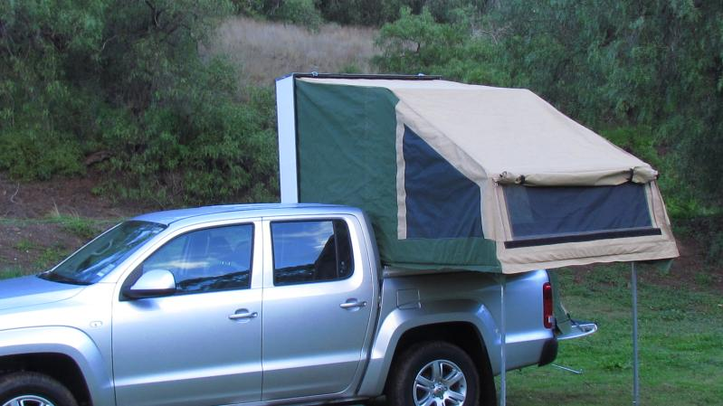 VW Amarok Brolga tent erected from side rear door open