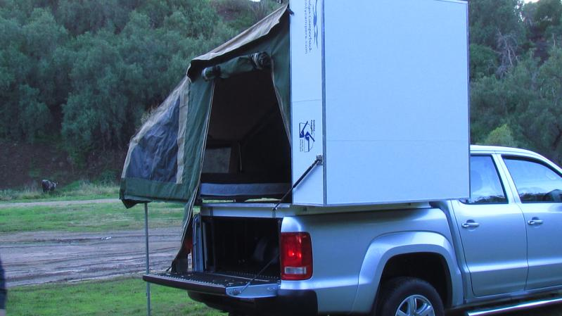 VW Amarok Brolga tent erected from front side part vehicle